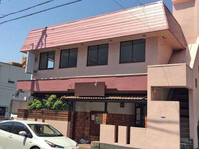 愛知県稲沢市、ビルの看板撤去・屋根張り替え・塗装工事